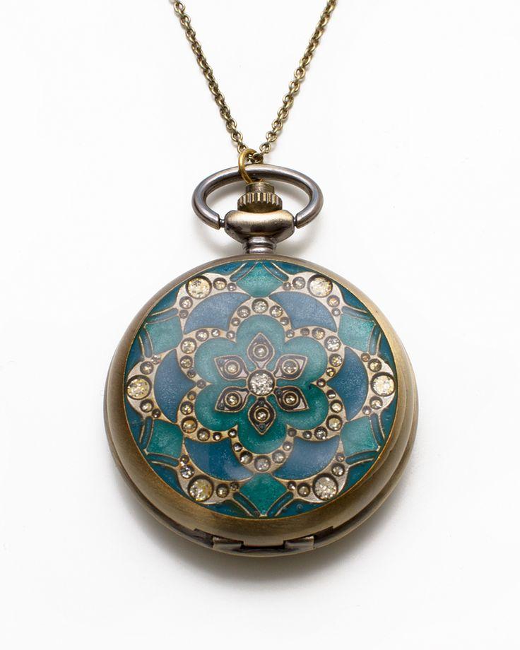 blue & teal pocket watch pendant
