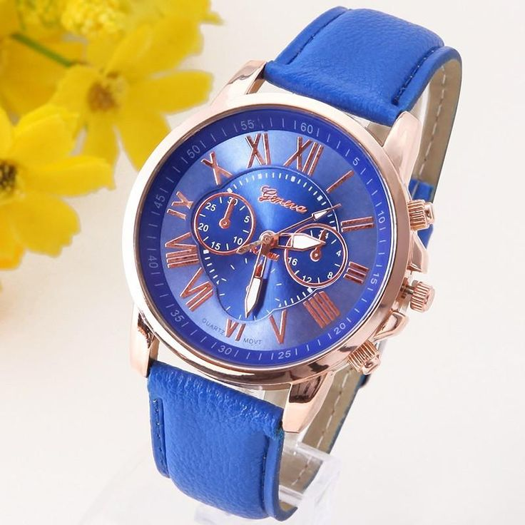 Geneva Platinum Watch Women Leather wristwatch casual dress