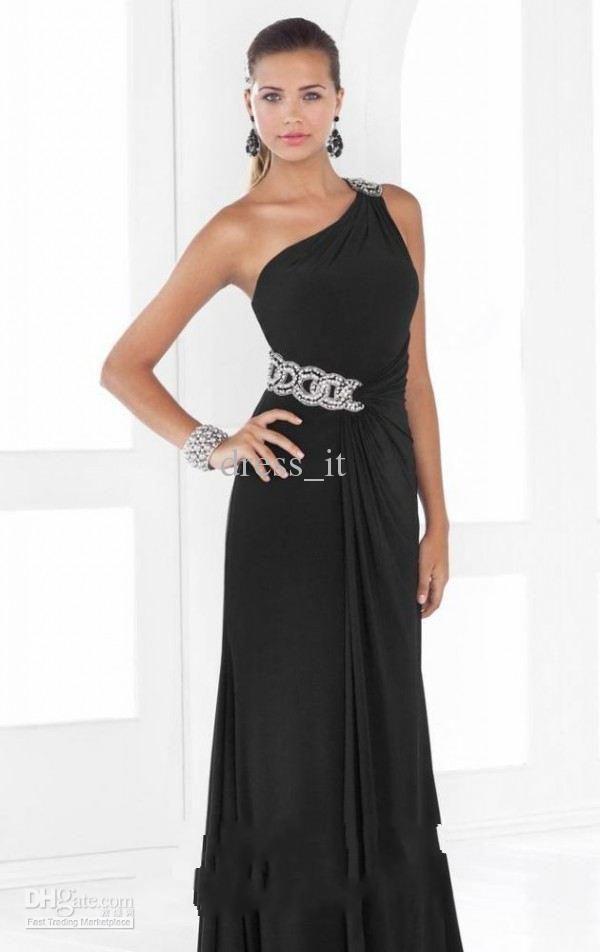 Hot Sale Black Long Celebrity Evening Dress A-line One Shoulder Beading Chiffon Prom Gown Dresses
