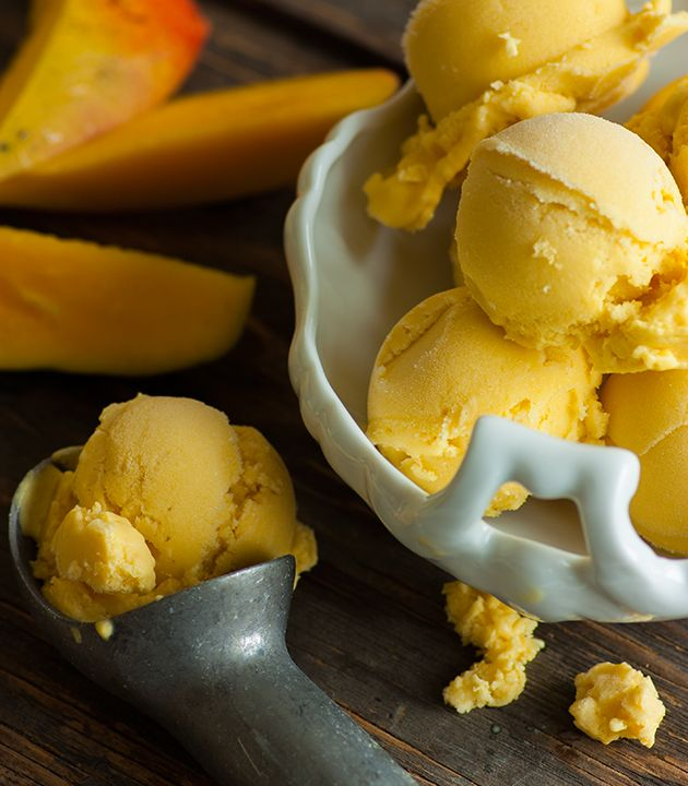 Lower-Sugar Dairy-Free Mango Ice Cream - Lexies Kitchen | Gluten-Free Dairy-Free Egg-Free -