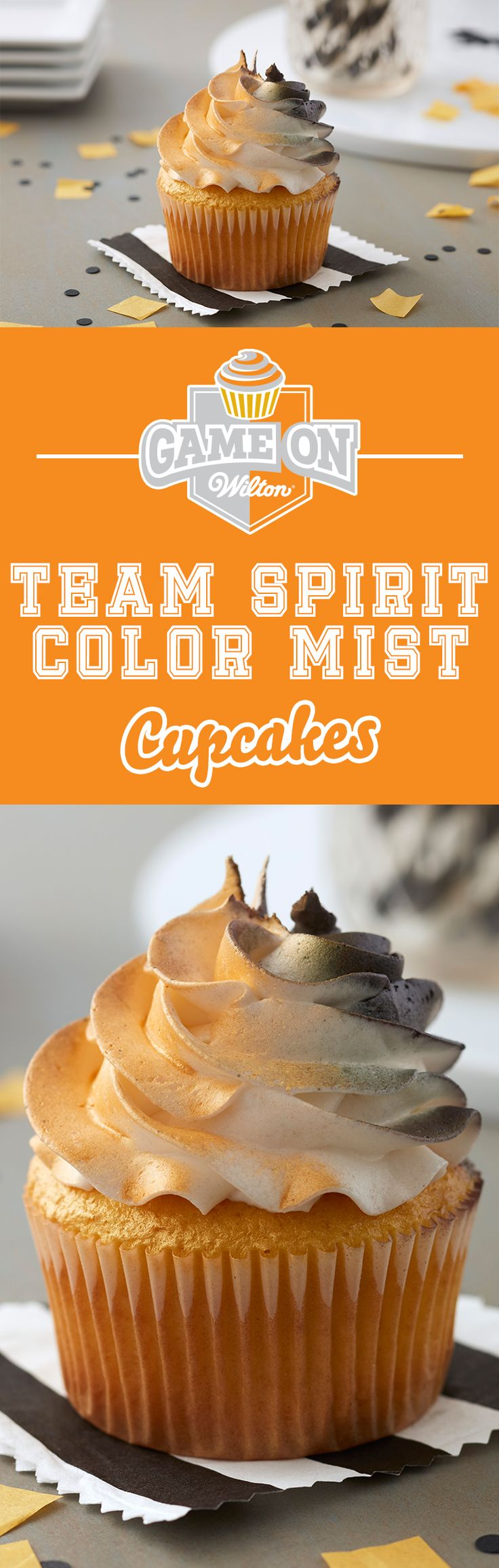 Show off your team spirit with these Team Spirit Cupcakes—made with fun Color Mist Food Coloring spray. With so many Color Mist colors available, it's easy to customize your favorite cupcakes in your favorite team colors! Bring cupcakes to your tailgate or football party or as snacks as you root for your favorite school team play!