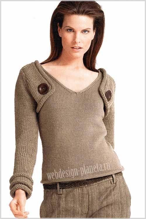 Бежевый вязаный джемпер женский спицами - классическая по крою модель и без причудливых узоров с небольшим декоративным штрихом, подчеркивающим ее обезоруживающую простоту....Размеры: 34-36 (38-40) 42-44..Для джемпера женского спицами нам нужно:...
