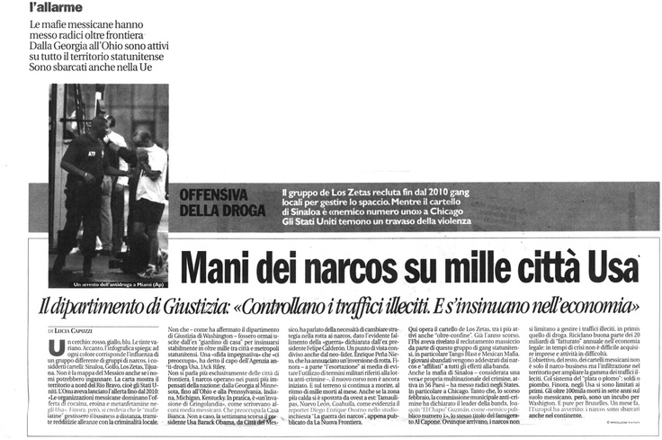 Lucia Capuzzi su L'Avvenire ci parla del narcotraffico in Messico anche attraverso Z.La guerra dei narcos.