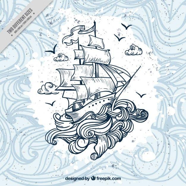 Fondo de barco dibujado a mano con olas Vector Gratis