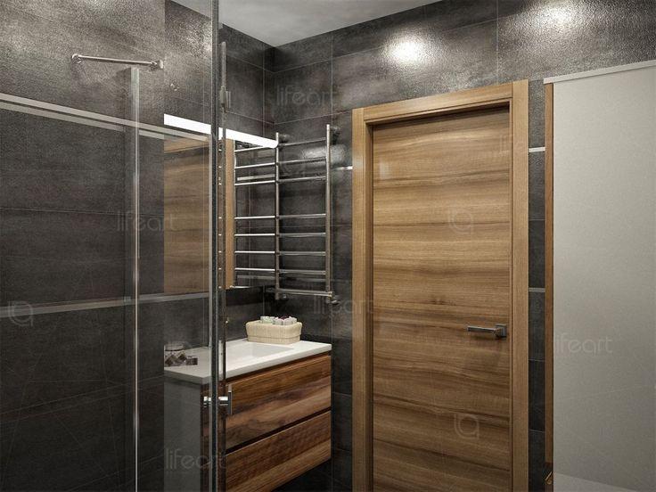 Санузел, современный стиль,  темная плитка, двери орех
