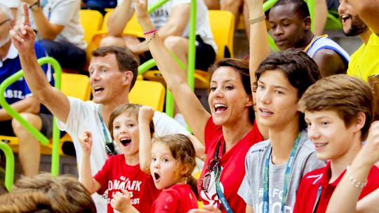 Prince Joachim and Princess Marie with their four children Prince Nikolai, Prince Felix, Prince Henrik and Princess Athena watching a handball match between Denmark and Argentina at the 2016 Olympic Games in Rio on August 7th, 2016.