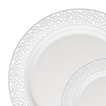 1258 Lace White Plastic Dinnerware Value Pack