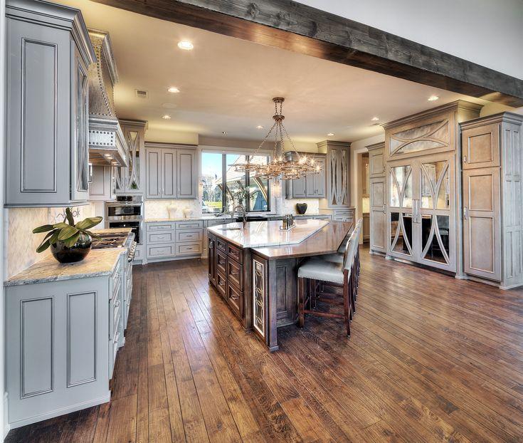 Kitchen  Mirrored Cabinets, Alder Wood Island, Quartz Countertop, Hardwood  Floors