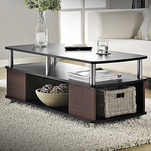 Altra Carson Living Room Furniture Black Cherry Finish Open Storage Coffee Table Contemporary