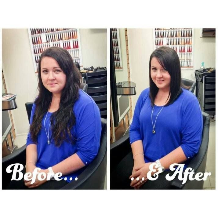 Before And After Long Hair To Medium Long Bob Glossylox Brunette