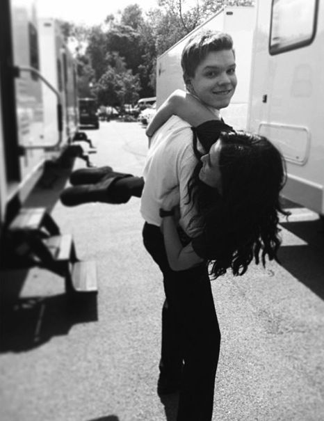 Cameron Monaghan and Zoey Deutch on Vampire Academy: Blood Sisters set.