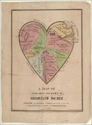 Colored print of a heart shaped map depicting the artist's conception of a woman's heart. Large areas include: love of dress, love of display, sentimentality, selfishness, coquetry, deception, platonic affection, prudence, fickleness, etc.