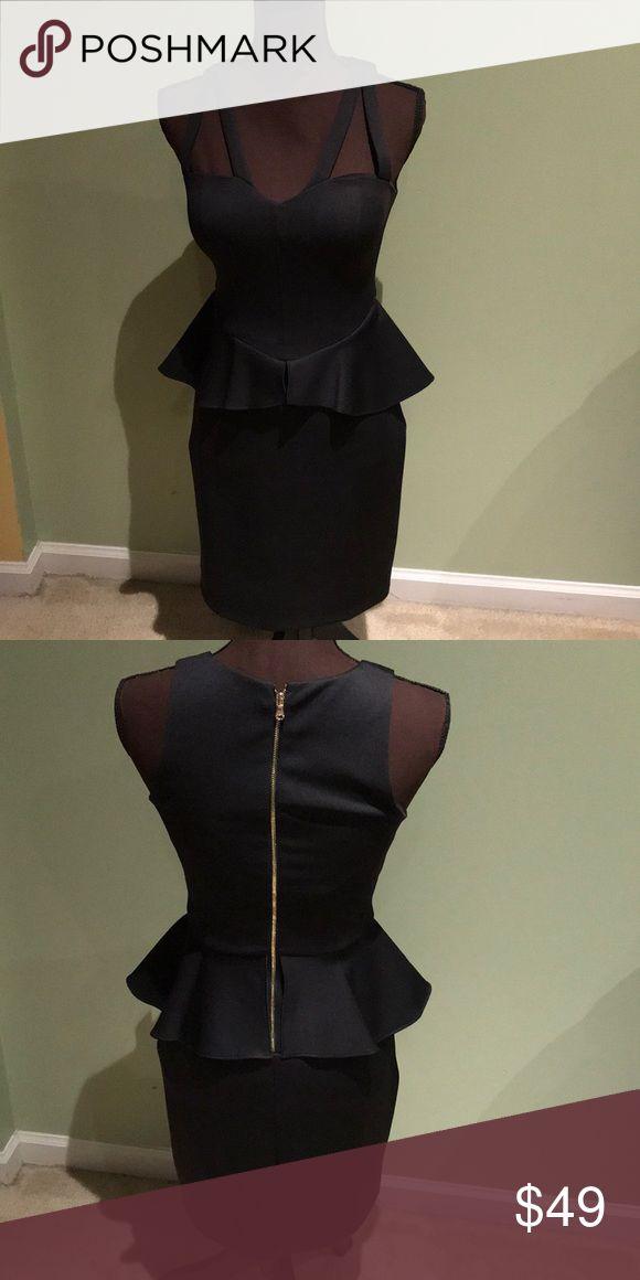 Guess Black peplum dress size 4  used 2 strap by each shoulder. Peplum black midi Guess Dresses Midi