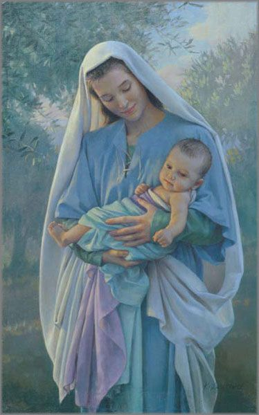 """Love's Pure Light"" art by artist Kathy Lawrence, print released in 2007, in size 18.5 x 11.5 inches, limited edition of 180, giclée on canvas (pinned by Nancy Lee Moran in 2015) #Madonna #Jesus"