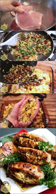 Pork Loin Chops Stuffed With a Sweet and Savory Apple, and Cornbread ...