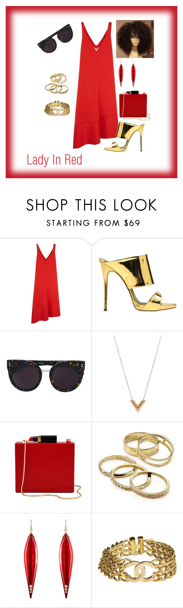 """Lady in Red"" by constance-dangerfield ❤ liked on Polyvore featuring Joseph, Giuseppe Zanotti, STELLA McCARTNEY, Louis Vuitton, Lulu Guinness, Kendra Scott, Mark Davis and Chanel"