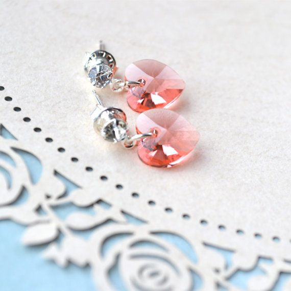 Peach Earrings Peach Stud Earrings Crystal Heart by Phoebedreams