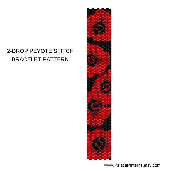 2 Drop Peyote Stitch Bracelet Pattern Red by PalacePatterns
