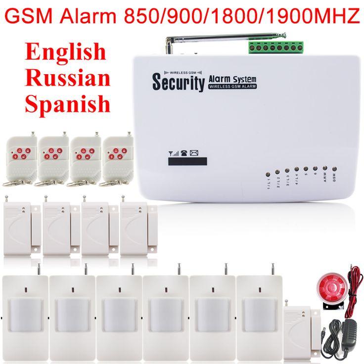 Spansih marlboze inglés ruso voz de alarma de marca auto del sintonizador sms de llamadas sim gsm casa de seguridad de control remoto