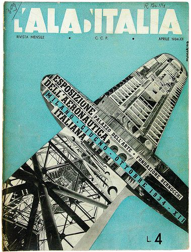 Munari and Ricas, cover artwork for fascist aviation journal L'Ala d'Italia, April 1934.