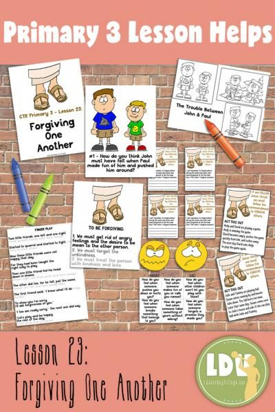 CTR Lessons at LatterdayVillage Red Brick Store! Save time, delight your class with these colorful visuals, handouts and activities for Primary 3 Lesson 23 - Forgiving One Another - only $3.25 includes all these instant download printables!