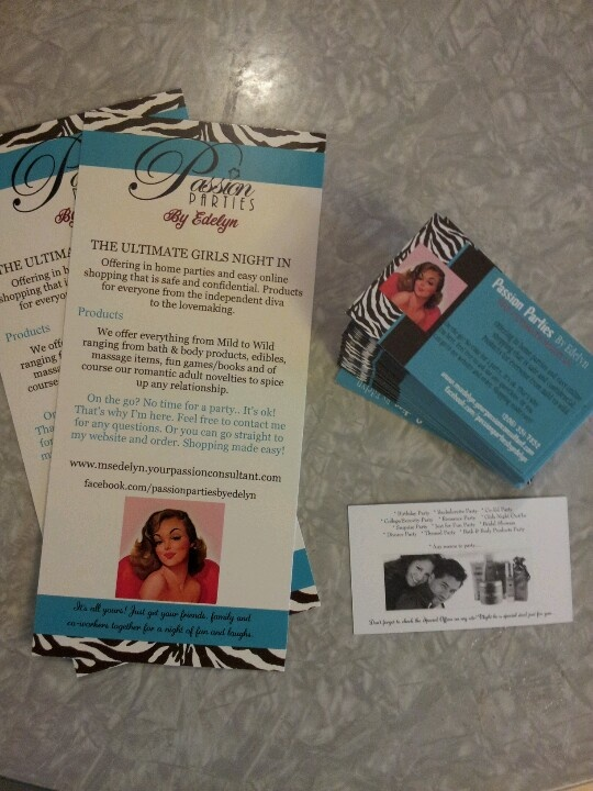 My Fun New Passion Parties Hand Outs And Business Cards