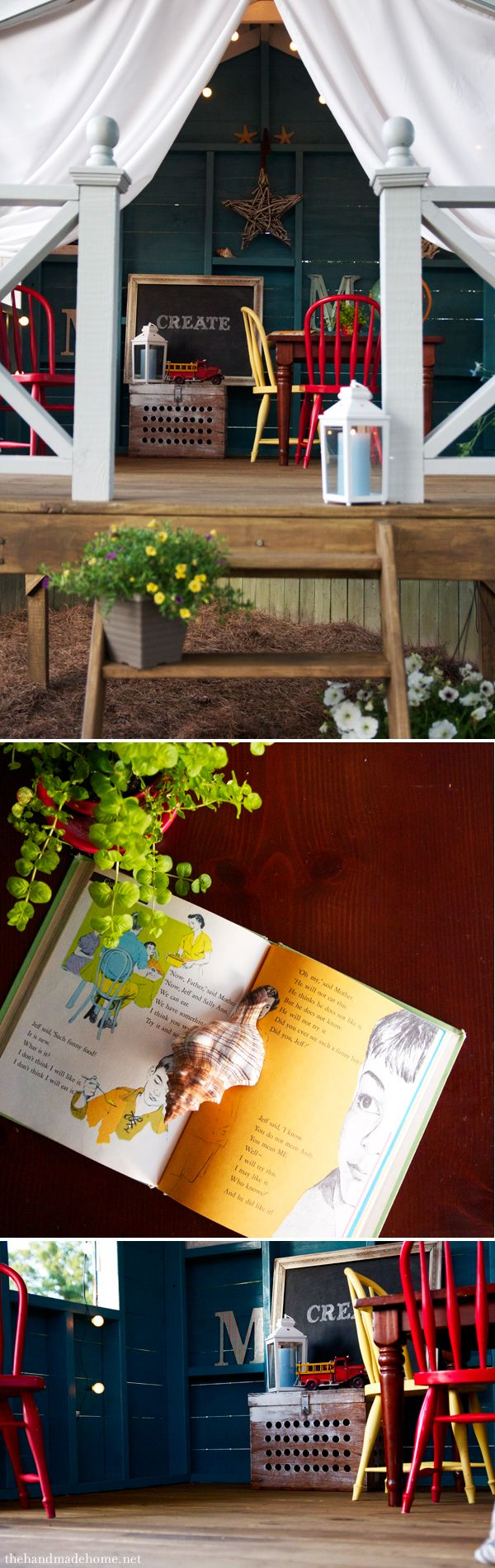 A Handmade Hideaway - The Handmade Home..... a tree-less tree house, fort or secret hideout. A simple, easy DIY hideaway for the backyard!