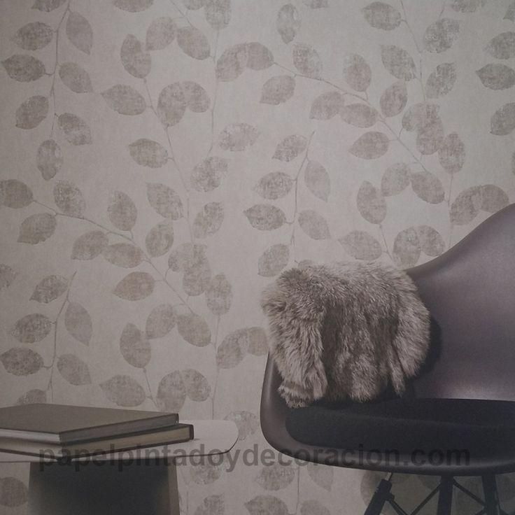 Papel pintado Coordonné Komorebi hojas grises ligero efecto brillo 81703