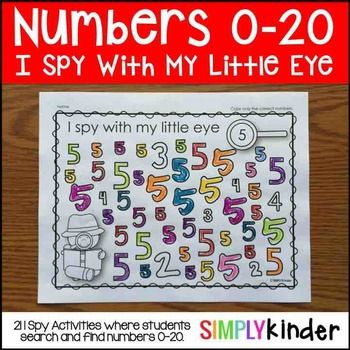 I Spy Numbers 0-20Get this product as part of a BUNDLE and SAVE! I Spy Literacy and Math ActivitiesIncluded in this download is:21 printables for the numbers 0-20. It's that simple. Students hunt and search for the number that is identified on the page and color it.