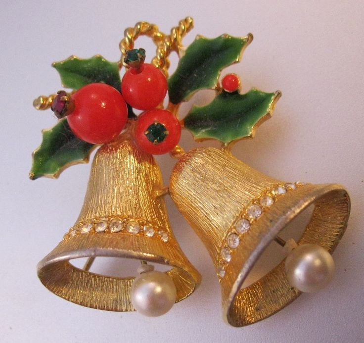 $15.99 Vintage 1950s Christmas Bells & Holly Brooch Moving Clappers Enamel Rhinestones Jewelry Jewellery FREE SHIPPING by BrightEyesTreasures on Etsy