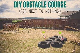 Items needed for this DIY Army Obstacle Course:  7 tires (we got these free on craigslist) lots of pallets (also free on craigslist) stakes and scrap wood for signs yellow paint rope  flags  bird netting  staple gun saw horses