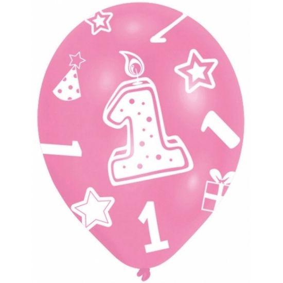 Roze gekleurde ballonnen 1 jaar. Met ster, verjaardagkaars, feesthoed en cadeau motiefjes. Geschikt voor de verjaardag van het eerste levensjaar van uw kind of te combineren met andere ballonnen. Inhoud: 6 stuks. Formaat: 27.5 cm.