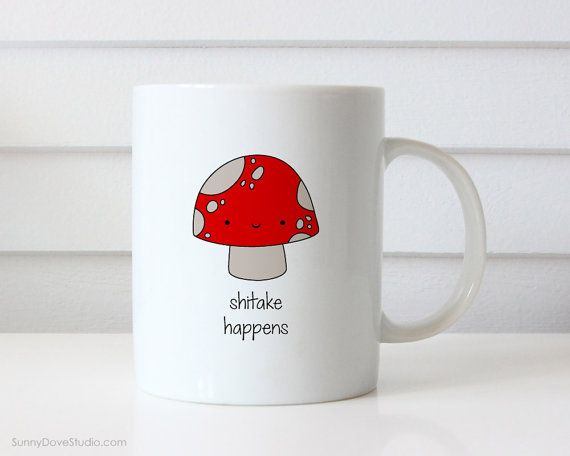 Funny Mug Christmas Gift for Friend Her Him Shitake Happens Pun Coffee Mugs Sarcasm Snarky Quote Birthday Fun Cute Kawaii Mushroom Gifts  Shitake Happens. This funny mushroom mug is the perfect Christmas or birthday gift for friends and family, the pun lovers in your life! Perfect for Christmas and birthdays, this cute little mushroom guy makes a sweet companion to any daily coffee routine! Mug is also a fun treat for yourself, add a dose of punny sarcasm to your day!  Design is printed on…