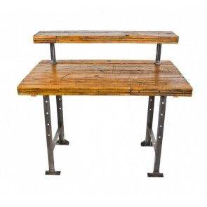 Custom-built antique american industrial reinforced heavy gauge angled iron workbench or desk with newly added tabletop comprised of recycled railroad boxcar floorboards
