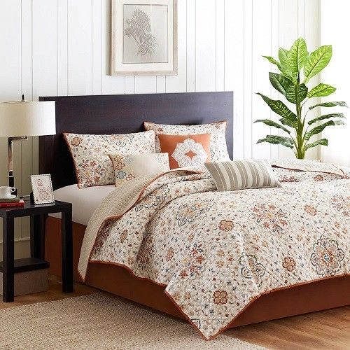 King Size Quilt Set 6 Pieces Reversible Rustic Orange Floral Pattern Bedding  #KingSizeQuiltSet #Country