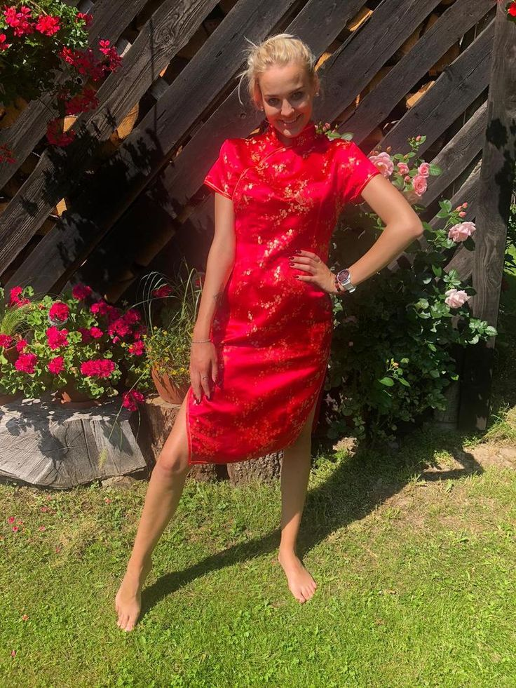 90s asian midi dress pink red cheongsam satin brocade dress