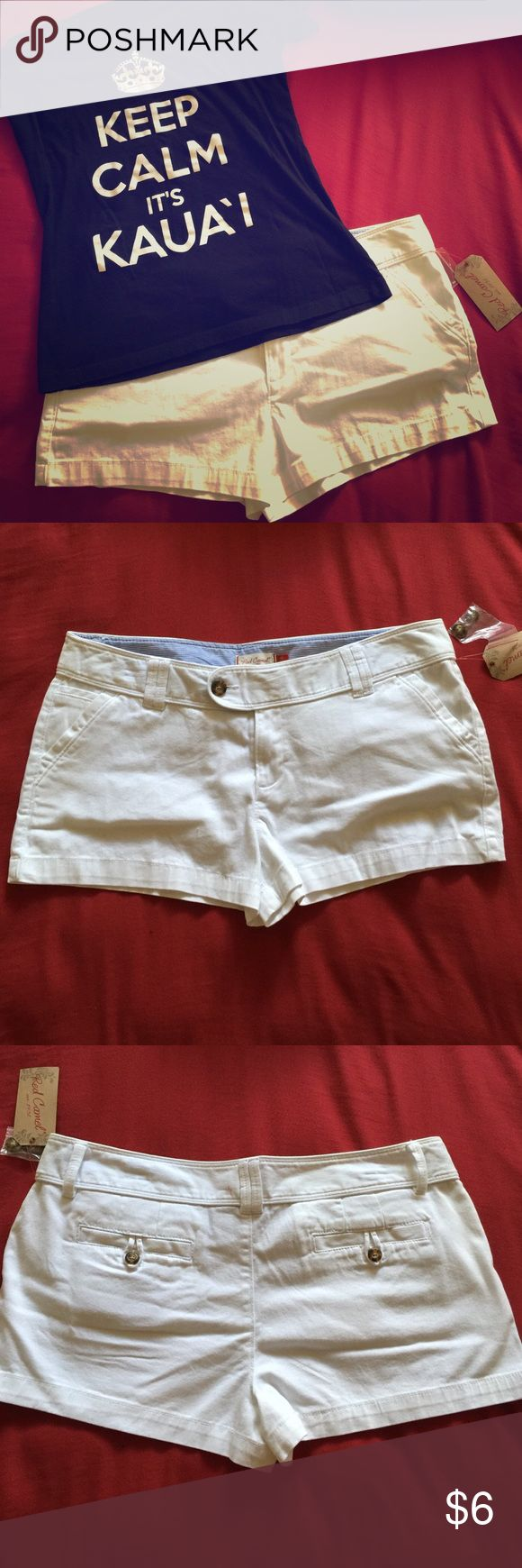 White Shorts NEW WITH TAGS!! Has a really small pen mark on back that could easily be covered with a belt. Re-Poshing, don't like the way it fits on me. Also check out other items in closet to bundle and save!! Red Camel Shorts