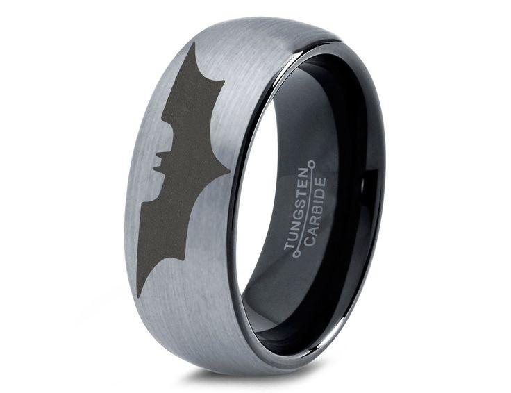 Batman Tungsten Wedding Band Ring Mens Womens Brushed Domed Black Fanatic Comic Geek Anniversary Engagement