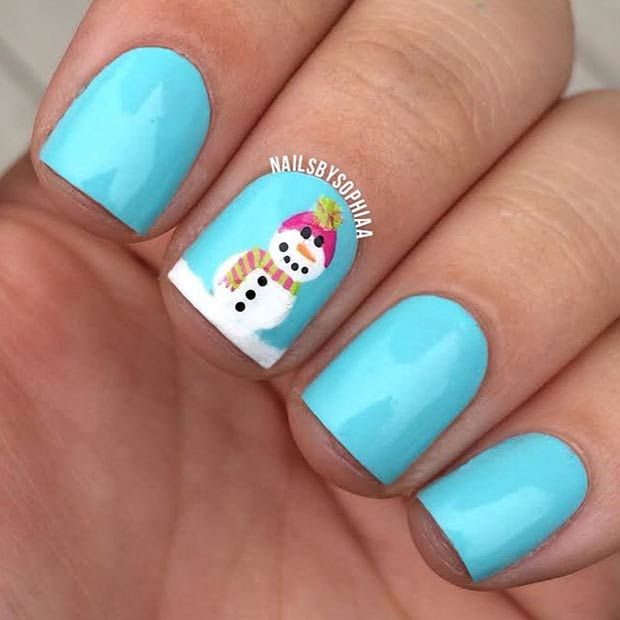 Simple Snowman Accent Nail