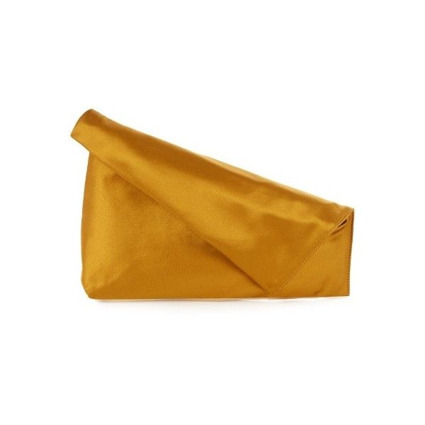 Diane Von Furstenberg Fold-over satin clutch ($115) ❤ liked on Polyvore featuring bags, handbags, clutches, dark yellow, diane von furstenberg handbags, foldover clutches, fold over purse, yellow clutches and party purses