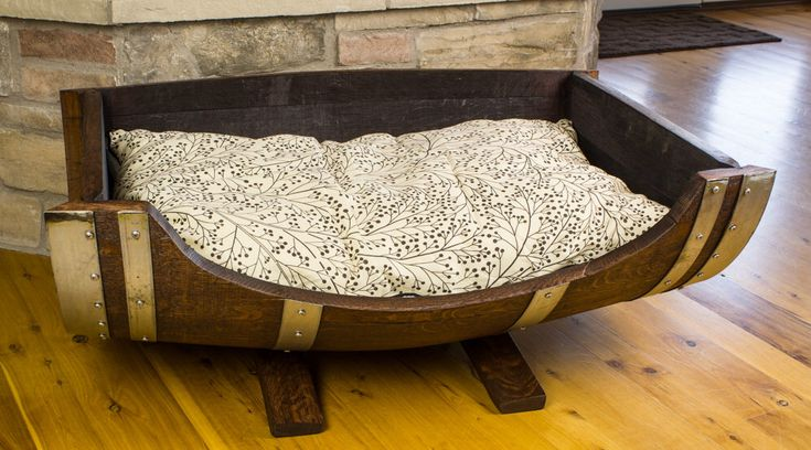 Wine Barrel Dog Bed - Rustic Dog Bed, Large Breed Dog Bed by RockCreekFurnitureCo on Etsy https://www.etsy.com/listing/255981813/wine-barrel-dog-bed-rustic-dog-bed-large