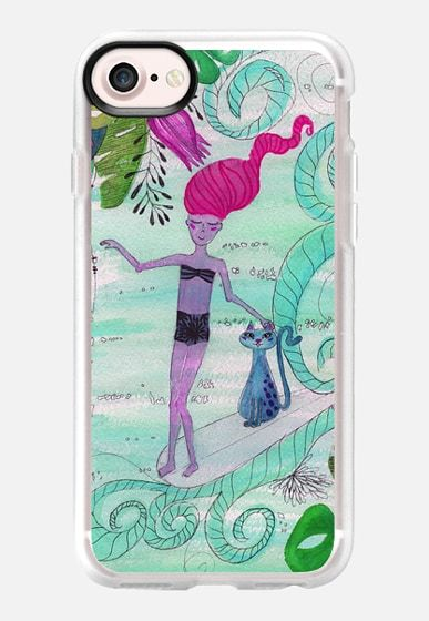 The  Surfergirl and the Cat illustration by Patricia Sodré for Casetify.  #iphonecase #casetify #cat #surfergirl #classicsurf #surfing #watercolor #iphone7 illustration #watercolor #aquarela #surfer #girl #gato