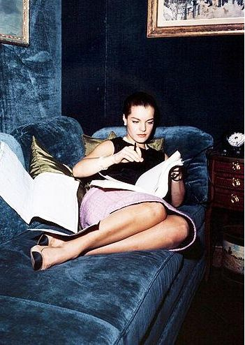 Romy Schneider wearing Chanel at Rue Cambon, Coco Chanel's apartment in Paris, 1960