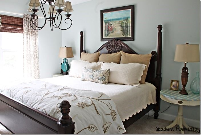 Great before and after guest room with Sea Salt paint. #guestroom