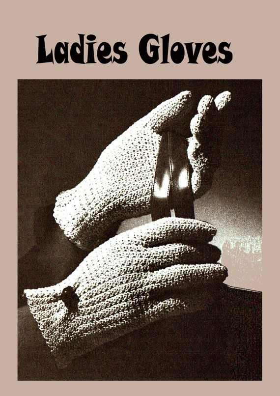 PDF Vintage 1950s Womens Ladies Gloves Crochet Pattern Glamour
