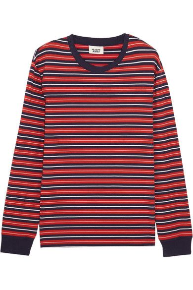 Sleepy Jones - Stevie Striped Cotton Pajama Top - Red - x large