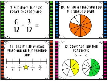This is a great, fast way to have your students review fractions! Great for whole group, small group, RTI, assessments.  With this game, students will: -- identify the shaded part of the fraction -- find missing numerator/denominator -- fractions in simplest form --compare fractions  -- identify math terms (numerator and denominator) -- add and subtract fractions with like denominators -- fractions on a number line   There are 24 scoot cards, a student answer sheet, and key