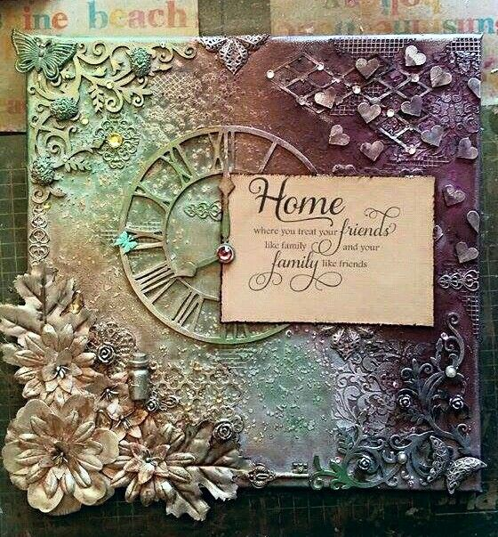 "Lin's mixed media art  ""Home is...."""
