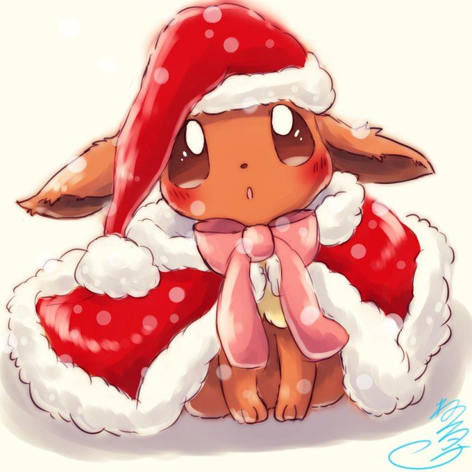 Eevee wearing Christmas outfit