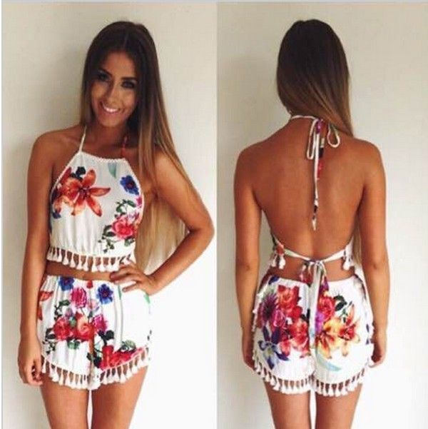 1b98a2c978a9 Aliexpress.com   Buy Women Crop Top and Skirt Shorts Set Backless Playsuit  Jumpsuit Cropped Cami macacao feminino female vestido Rompe…